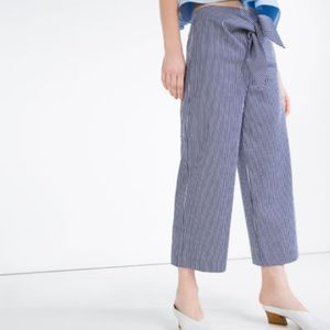Zara Blue & White Stripe Trouser with Front Knot